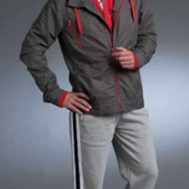 Goedkope  Sportief jack grijs met rode contras details